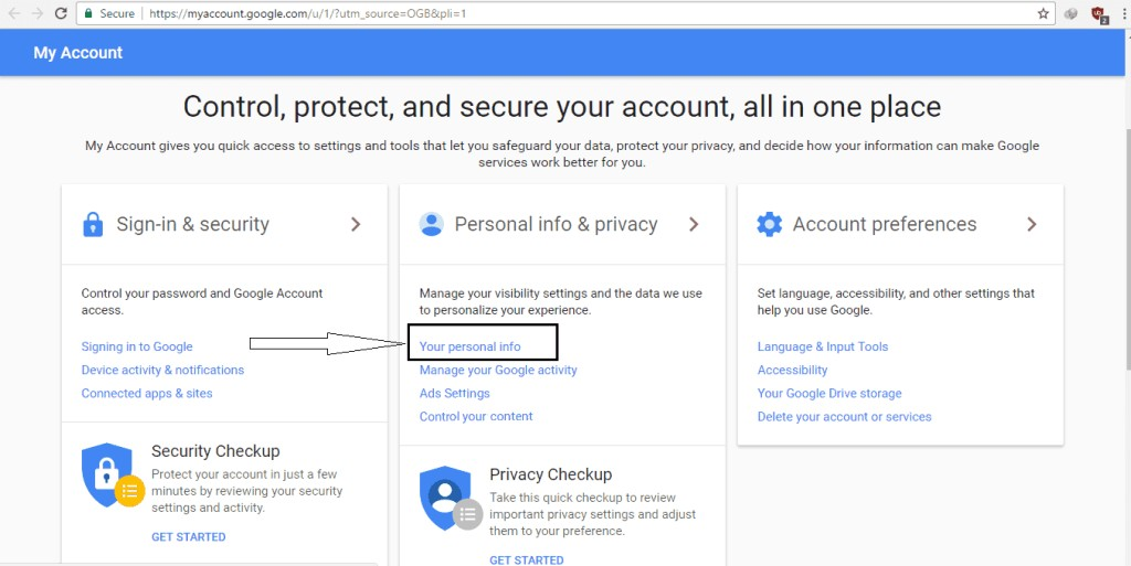 click your personal info