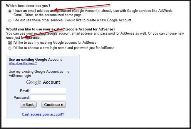 Create AdSense Gmail account step 3