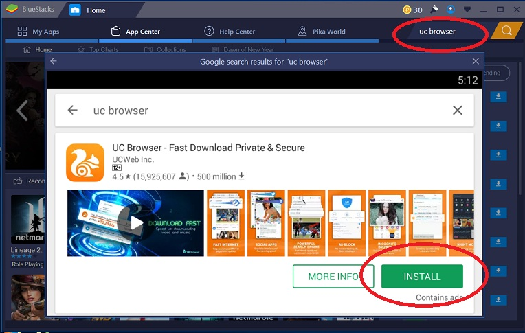 Download Uc browser from bluestack