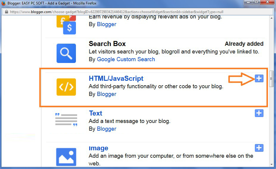 Now Choose HTML/Java Script Gadget-