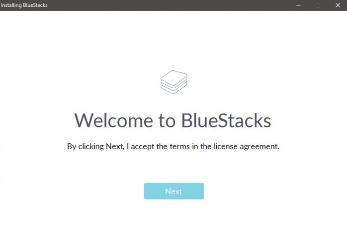 BlueStacks installer - Click Next to continue