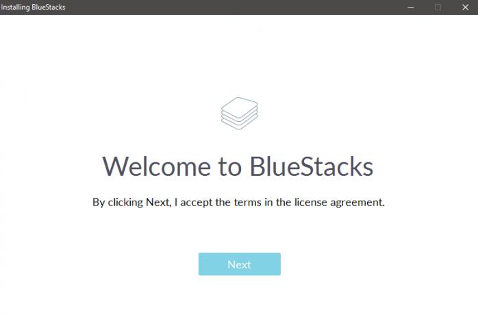 BlueStacks installer - Click Next to continue