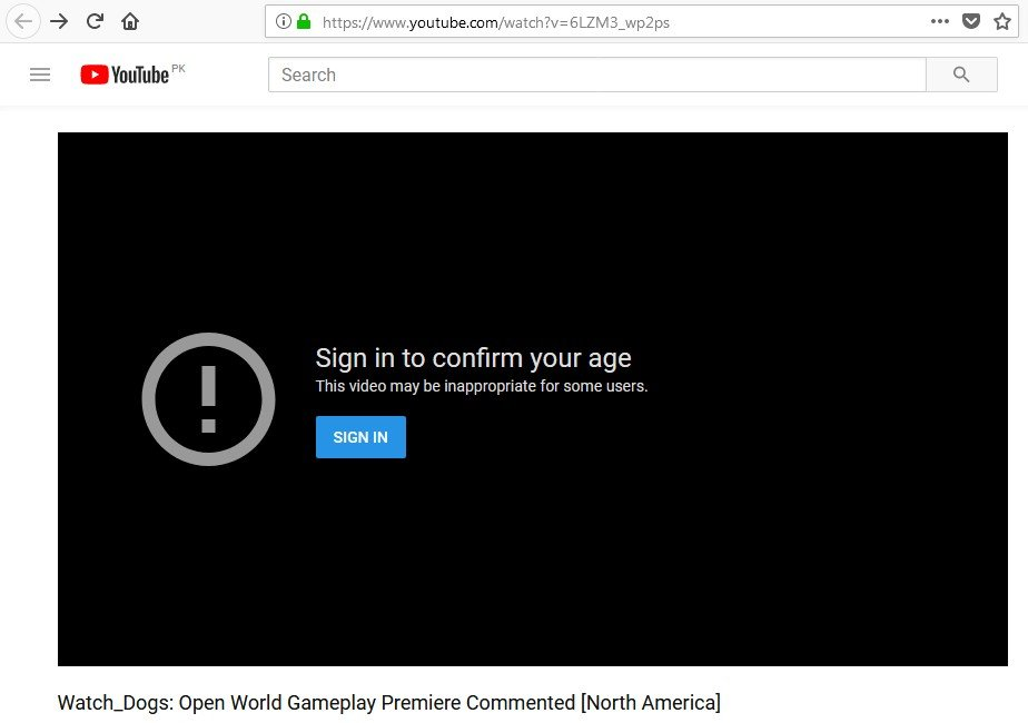 Youtube - log in to confirm your age