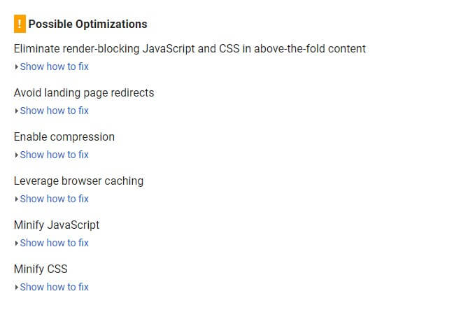 Possible Optimizations options in google page speed insights