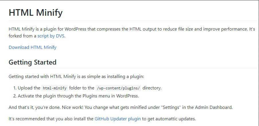 minify html markup