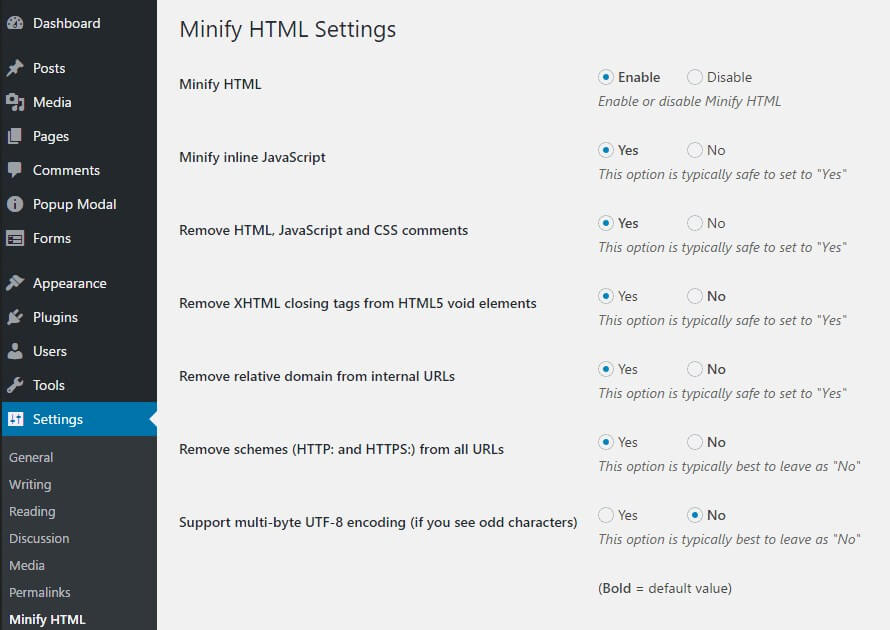 minify html plugin settings