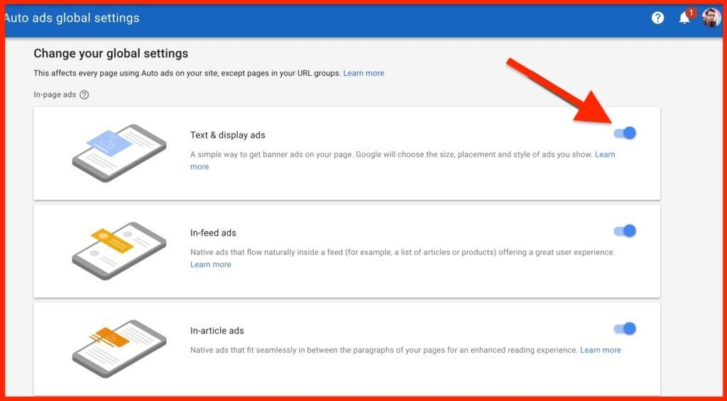 Auto Ads AdSense global settings