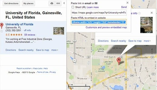 google maps embed iframe