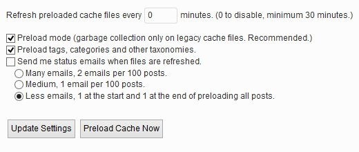 wp super cache preload