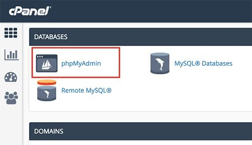 cpanel phpmy admin