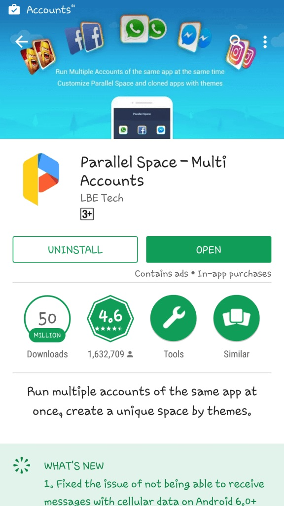 Run Multiple Accounts of Same App on Android Device using Parallel Space
