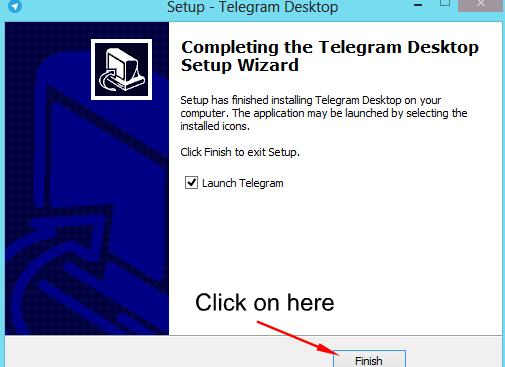 Telegram desktop wizaird completed