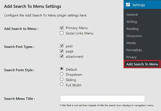 add search to menu plugin