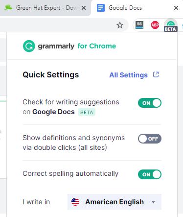 disable grammarly docs google