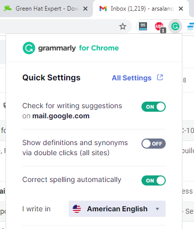 disable grammarly gmail